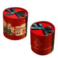 coffrets cadeaux cylindriques achat en gros de-New Creative quatre styles cylindrique boîte-cadeau de Noël d'Apple bonbons Coffret cadeau de Noël Décorations Box Eve