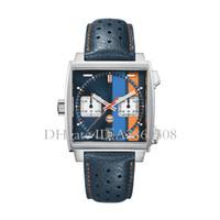 кожаные наручные часы для мужчин оптовых-Лучшие VK хронограф кварцевые часы для Mens нержавеющей стали наручные часы ремешок из кожи мужчин Монако Спортивные часы