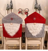 Wholesale home dinner set resale online - Christmas Chair Cover Santa Claus Chair Back Covers Dinner Chair Cap Sets Christmas Xmas Home Party Decorations Props FFA3217