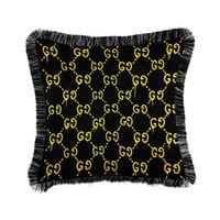 almofadas decorativas para sofá venda por atacado-Moda de luxo Engrossar Velvet Borla Capa de Almofada Macio Impresso Fronha Fronha Início Decorativo Sofá Lance Almofadas Cadeira Fronha