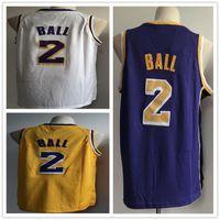 Wholesale polo jersey shirt for sale - 2 Lonzo Lakers Ball Basketball Jerseys New season Fashion versio polo shirt White Yellow Purple Sport Jersey