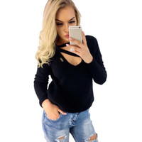 свободный пуловер вязаный для женщин оптовых-New Women Casual V-neck Long Sleeve Solid Color Loose Knit T-shirt Tops Pullover Lady Clothing Spring Autumn T-Shirt Hot