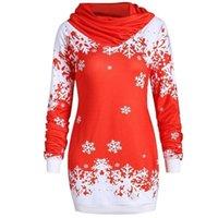 schöne rote partykleider großhandel-Litthing Frauen-Weihnachtskleid Sankt druckte nettes langes Hülsen-unregelmäßiges Ansatz-rote Snowflack Kleider loses beiläufiges Party-Kleid