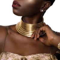gargantilla de collar de oro africano al por mayor-Gargantillas Ajustable de la vendimia Declaración Gargantilla Collar de Mujer Grande de Color Oro Collar de Cuero Maxi Collar Joyería Africana