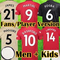 futebol unido venda por atacado-Manchester United 2019 2020 LUKAKU MARCIAL POGBA Rosa Vermelha unida Camisa de Futebol RASHFORD Crianças jerseys kit Camisa de Futebol 19 20 equipamentos de Alta qualidade