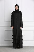 siyah akşam abaya toptan satış-2019 Yeni Varış Müslüman Kadınlar Siyah Abaya ile Kemer S-2XL Artı Boyutu İslam Kadınlar Romadan Akşam Parti Jilbab Robe