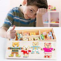 Wholesale montessori wooden puzzle for sale - Group buy 72pcs Change Clothes Toys Bear Rabbit Clothes Changing Jigsaw Puzzle Kids Girls Wooden Toys Montessori Educational Y200111