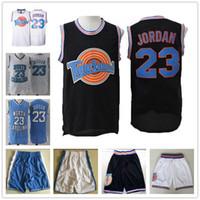 conjuntos de camisas de basquete venda por atacado-NCAA Carolina do Norte Tar Heels 23 Michael College Jersey conjuntos Space Jam Tune Squad filme basquete Jerseys Shorts