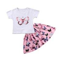 ingrosso corti pantaloni farfalla-2 pezzi belle ragazze abbigliamento bambini neonate farfalla manica corta t-shirt top shorts gonne bambini ragazze abiti abiti set