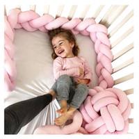 bebekler yataklar toptan satış-1 M / 2 M / 3 M Uzunluk Yenidoğan Bebek Yatağı Tampon Saf Dokuma Peluş Düğüm Beşik Tampon Çocuk yatak Bebek Karyolası Koruyucu Bebek Odası Dekor