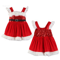 vestidos de lentejuelas de invierno al por mayor-Vestidos para niñas de navidad Lentejuelas rojas Vestidos de princesa para bebés Otoño invierno Falda Falda Ropa para bebés Ropa de diseñador para niños