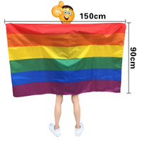 ingrosso bandiera gay-Rainbow Flag Shawl USA Flag Cape America Rainbow Gay Pride Flags Festival Party Banner Decorations Supplies HHA707
