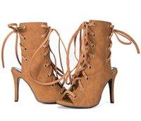 botas de couro do dedo do pé do gladiador do couro venda por atacado-Moda Celebridade Sapatos De Couro Sapatos De Salto Alto Mulheres Peep Toe Gladiador Botas Lace Up Tiras No Tornozelo Sandálias Botas