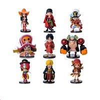 tek parça oyuncak koleksiyonu seti toptan satış-Anime One Piece Şekil modeli Koleksiyon Oyuncak 9 Parça Set PVC Sevimli Mini Bebekler Karikatür Manga