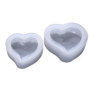 molde del corazón 3d al por mayor-Corazón de silicona 3D molde de resina de la joyería del molde de arcilla fundición de polímeros arte DIY 3 Tamaño Clear Color