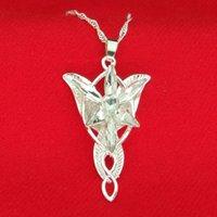 evenstar kolye efendisi yüzükleri toptan satış-Yüzük efendisi Arwen Yıldız Kolye Gümüş ve Beyaz Evenstar Kolye ile Gümüş Zincir moda Jewlery