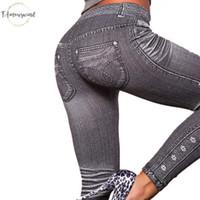 tipo leggings al por mayor-Fuera de las polainas de la manera del estilo gris Demin Legging Leggings mujer de moda Trato Jeans Legging Tipo de trabajo 989354 Jeans