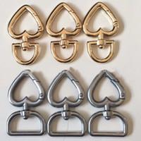 ingrosso gancio girevole in metallo-Cuore fibbie in metallo per borsa borsa cinturino snap ganci portachiavi cane collare girevole grilletto clip artigianato fai da te WX9-1283
