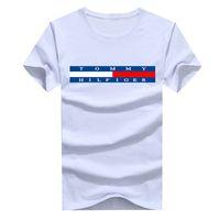 yaka gömlek baskı toptan satış-2019 yaz marka erkek T-shirt denizci yaka kısa kollu tasarımcı T-shirt saf pamuk baskılı alfabe tee üst erkek ekose rahat T-shirt