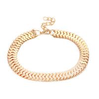 moda de metal tobillera al por mayor-5 unids / lote exagera ancho de la cadena de la serpiente tobilleras de metal cadenas del pie mujeres mujer Boho pulsera de la joyería de moda