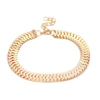 Wholesale metal anklet fashion resale online - 5pcs Exaggerates Wide Snake Chain Anklets Metal Foot Chains Women Female Boho Ankle Bracelet Beach Fashion Jewelry