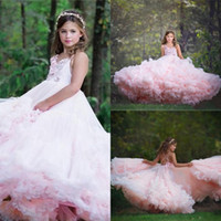 Wholesale spaghetti hand skirt for sale - Group buy Tier Ruffle Skirt Pink Girl Pageant Dresses Adorable Kids Birthday Communion Gowns Spaghetti Strap Criss Corss Back Flower Girl Dress