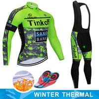 ingrosso mtb saxo jersey banca-2019 Saxo Bank Tinkoff inverno del panno morbido termico di riciclaggio Jersey Ropa Ciclismo MTB vestiti della bicicletta Maillot Outdoor Abbigliamento sportivo