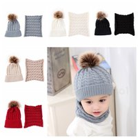 Wholesale fur ball scarfs for sale - Group buy 5styles Knitted fur ball Beanie Kids Winter Warm Scarf Set Autumn Cap Wool Solid Boy Girls Hat Children Hat Scarf Collar Set FFA2882