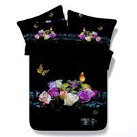3d çiçek kral yatağı yorgan toptan satış-3d kelebek çiçek lilycolors gül tam / kraliçe / süper kral nevresim seti 100% pamuk yatak dolgu olmadan ücretsiz kargo