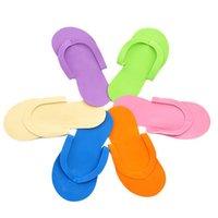 zapatillas de espuma de spa al por mayor-100 unids / lote Desechable Slipper / EVA Foam Salon Spa Slipper / Desechables Pedicura tanga Zapatillas Belleza envío gratis