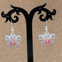 araña mariposa al por mayor-Pink Rhinestone Enamel Butterfly Charm Pendientes de plata Gancho de oreja 10pairs / lot Chandelier Jewelry 22x37mm A-506e