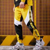 erkekler için boş pantolonlar toptan satış-2019 Sonbahar pantolon Saf pamuk eğlence pantolon rahat pantolon kalem splice çiftler spor spor koşu Erkek Hip hop pantolon