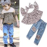 baby girl tops jeans toptan satış-2019 yeni varış Yaz bebek kız giysileri Kız Kıyafetler leopar baskı gömlek Tops kot 2 adet / takım Çocuk Takım Elbise Çocuklar Setleri bebek giysileri A1612