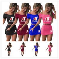 Wholesale cute tracksuits resale online - Champions Dress Suit Women Crop Top T shirt mini Skirt tracksuit Two Piece Outfits Summer Letters Print Casual Fashion Skirt Set A3152
