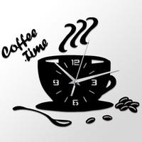 café copo copo venda por atacado-3d diy acrílico relógio de parede de cozinha moderna home decor relógio de tempo do café copo forma adesivo de parede oco numeral relógio