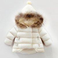 ingrosso giacche di pelliccia del neonato-Chirstmas ragazzi trapuntato bambini giacca con cappuccio in pelliccia cime del cappotto del manicotto lungo cadono bambini di inverno ispessiscono caldo outwear neonata copre F1549