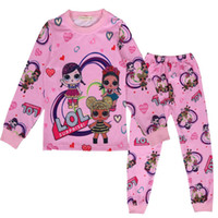 camiseta de algodón de manga larga para niñas al por mayor-Los niños INS Lol se adapta a los pijamas, niñas, niños, ropa de algodón, dibujos animados, manga larga, camiseta + pantalones 2pcs, conjuntos de ropa para bebés