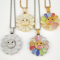 Wholesale sunflower necklace pendant for sale - Group buy Sun flower necklace female original tide male couple jewelry sunflower sunflower colorful fashion rotating sweater chain pendant necklace wi