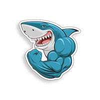 fenêtres larges achat en gros de-Muscle Shark Sticker Workout Gym Guy Ordinateur Portable Tasse Cooler fenêtre de voiture Décalque de pare-chocs 3.95 de hauteur sur 3.95 de large