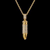 colar de bala de strass venda por atacado-Bala do exército com colar de pingente de strass colares de aço inoxidável que bling pedra de cristal charme cubano cadeia de hip hop jóias