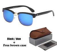 Wholesale red reflective lens sunglasses resale online - Brand designer Fashion Sunglasses half frame Reflective Sport UV400 Protection lens Vintage Sun glasses with Retail case and box