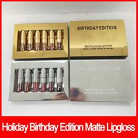 Wholesale valentines lipstick resale online - Famous brand lip makeup Holiday Edition lip gloss Kit Birthday Edition MATTE Liquid lipstick valentine edition set lipgloss