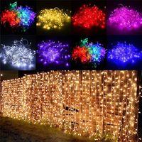 Wholesale waterproof curtains resale online - Curtain lights christmas lights m m m m m m led lights Christmas ornament lamp Flash Colored Fairy wedding Decoration