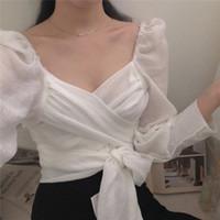 zierliches weißes hemd großhandel-Date Night! Kleine Sexy PUFFÄRMELN Weiße Bluse Petite-Verpackungs-Gurt-Bindung Shirt Frauen Top geerntete Chemise Femme Chemisier Blusa Muje