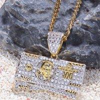 хип-хоп длинные ожерелья оптовых-Bling Хип-Хоп Gold100 Доллар Деньги Кулон Длинное Цепное Ожерелье для Мужчин Ювелирные Изделия 2019 Новый