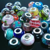 cuentas de vidrio grandes agujeros al por mayor-¡Venta caliente! 100pcs / lots Mix Color Lampwork Color Glaze Glass Large Hole Beads Fit Charm Bracelets