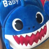 ingrosso borsa blu scuola dei ragazzi-2019 New Cartoon Baby Shark Sacchetto di scuola per bambini Bambini carino peluche scuola zaino Shark Baby Blue Rose giallo colore ragazzi Schoolbag