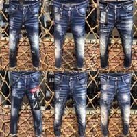 короткие джинсы расстроены оптовых-2019 мужские проблемные рваные джинсы-скинни модные дизайнерские шорты джинсы тонкий мотоцикл Мото байкер причинно мужские джинсовые брюки хип-хоп мужские джинсы