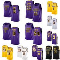 jerseys amarillos negros al por mayor-NCAA College LeBron 23 James Jerseys Hombres Anthony 3 Davis Kobe 24 8 Bryant Amarillo Púrpura Blanco Negro Amarillo Baloncesto Ciudad Cosida