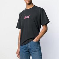 pantalones cortos de hombre rosa al por mayor-19SS BLCG Camiseta estampada con el logotipo de color rosa Camiseta clásica de moda para hombres Camiseta de calle de skate de manga corta Camiseta de verano de gran tamaño HFYMTX602
